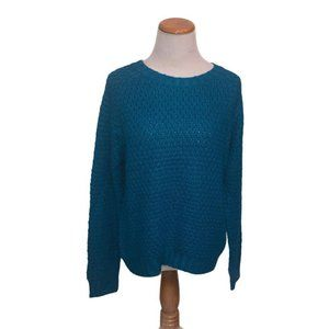 Jenny Cable Knit Crew Sweater Blue Ladies Size XL